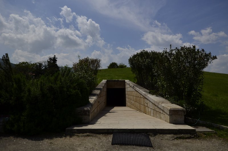 Vergina Greece Entrance to the burial mound of the Macedonian Kings