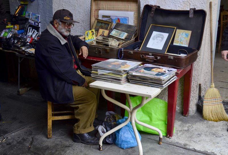 Salonika Old man selling records in the bazaar