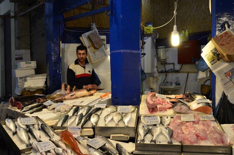 Salonika bazaar Fresh fish from the Thermaic Gulf
