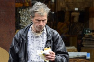 Salonika Man eating a cheese pie
