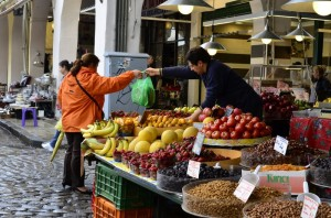 Transaction in the open fruit and veg market