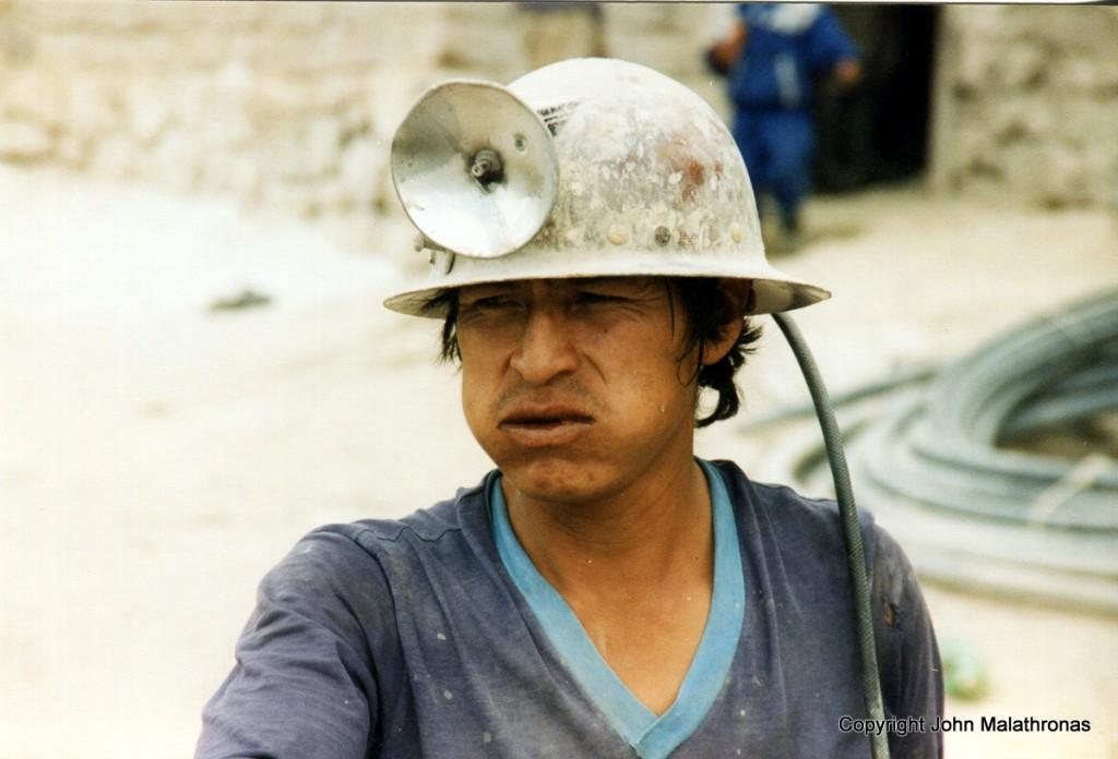 Potosi miner chewing coca leaves
