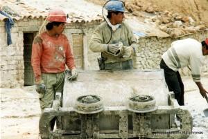 Potosi miners and silver mine wagon