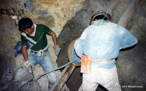Potosi miners setting dynamite squibs