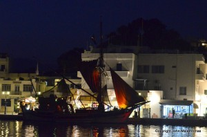 Schooner at Ios port by night