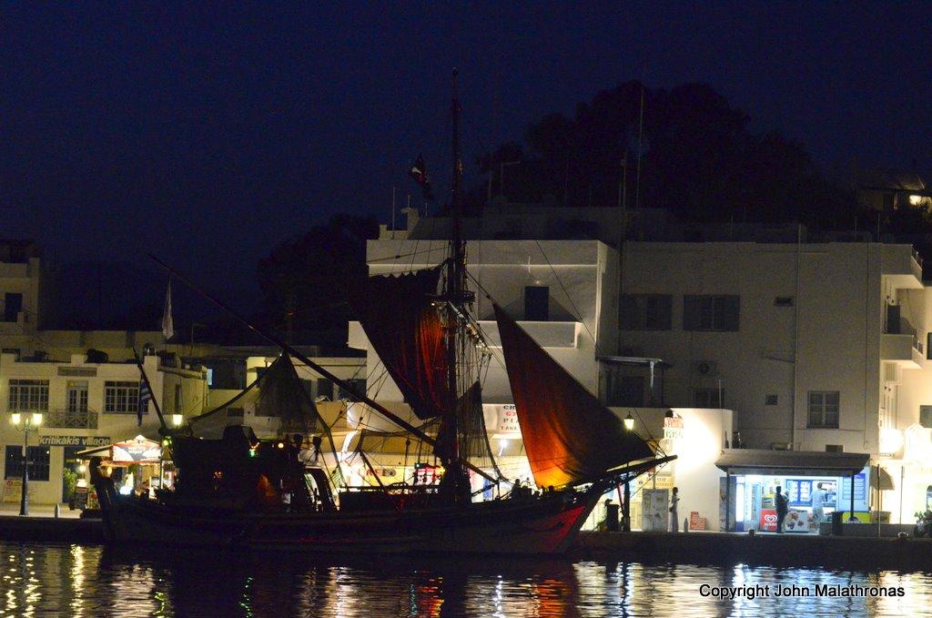 Schooner at Ios port by night