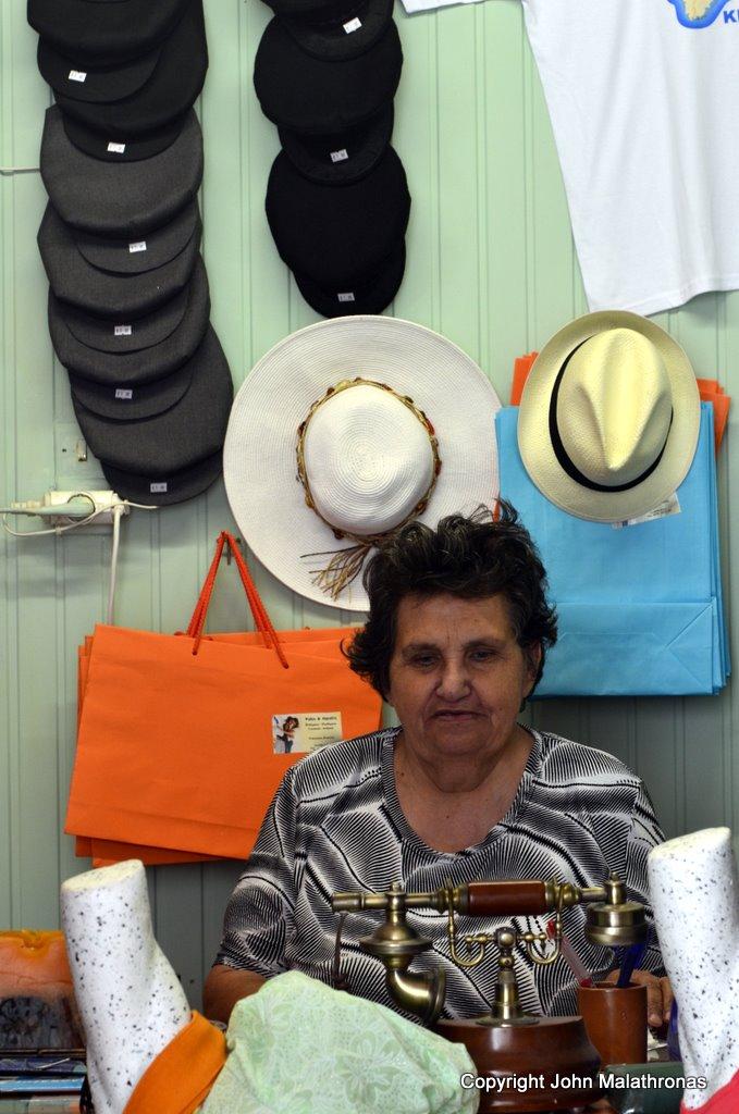 Mrs Aphroditi in her hat shop, Ioulida