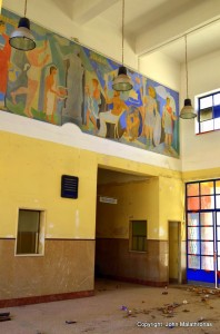 Old fresco at the station refectory of Corinth station