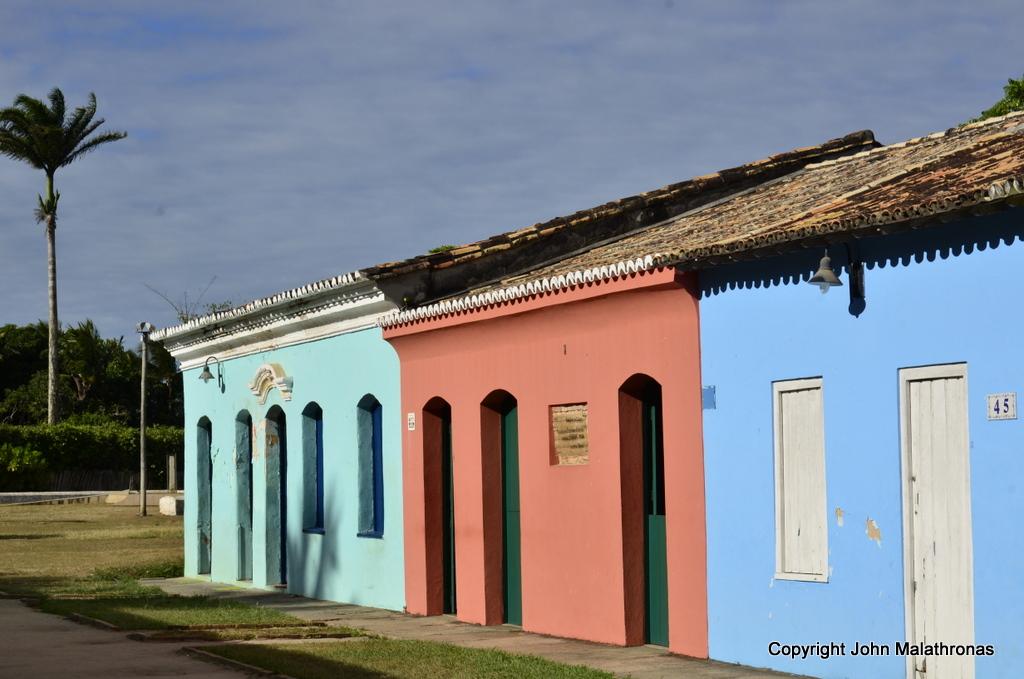 Renovated one-storey stone-and-adobe houses in the historic centre of Porto Seguro