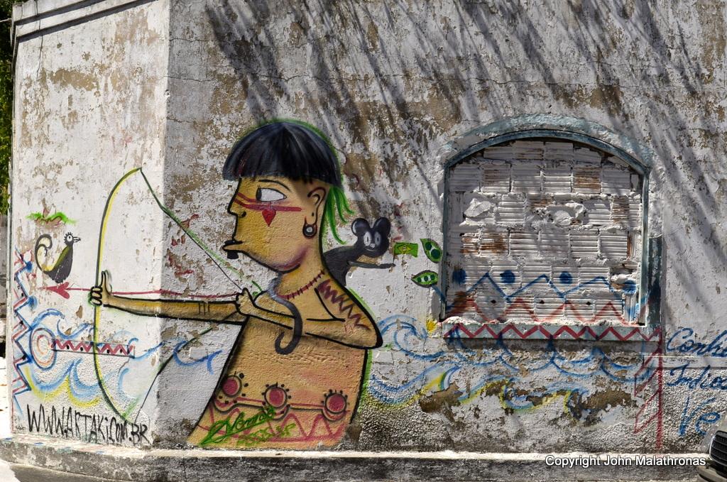 Pataxó graffiti  Porto Seguro Brazil