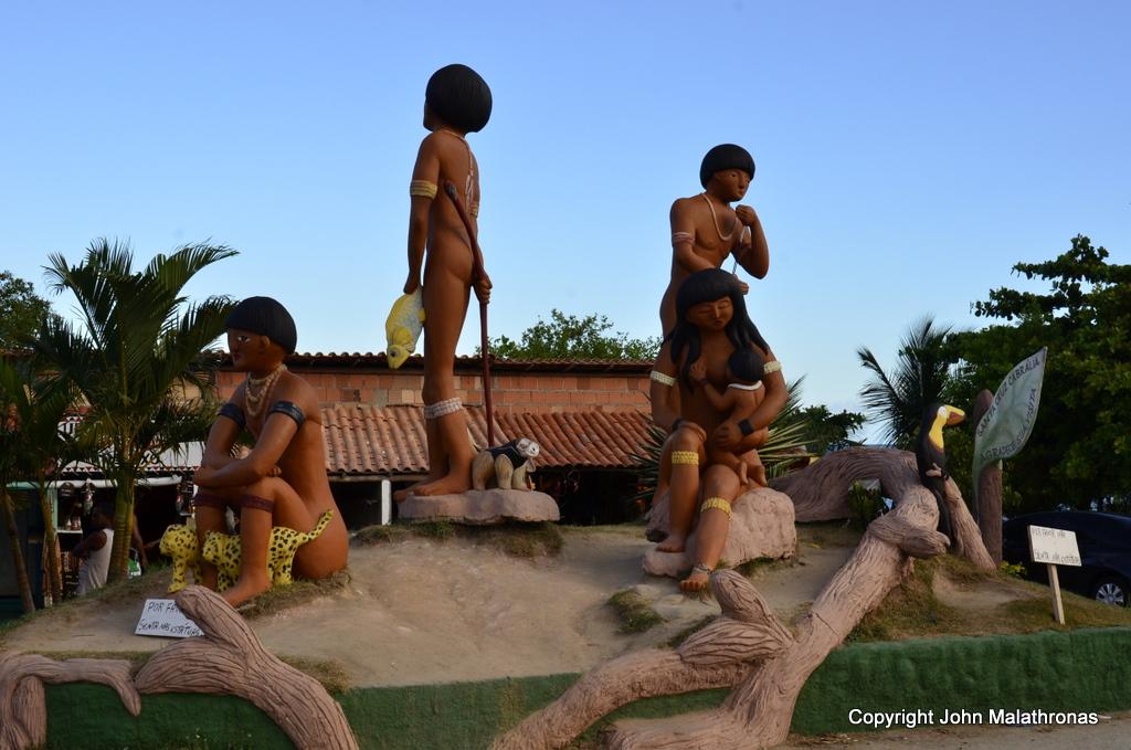 Pataxó carving celebrating their Christianisation Porto Seguro Brazil