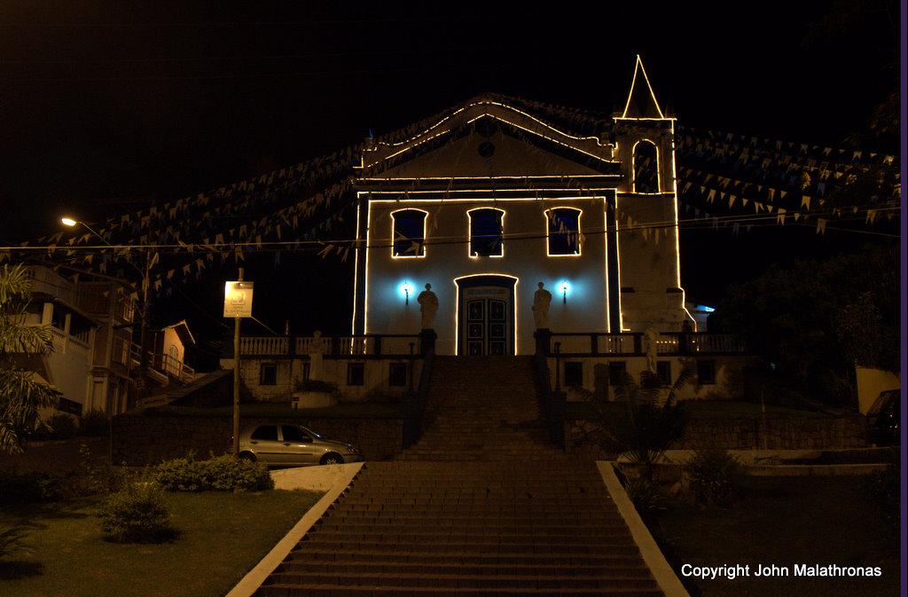 Vila at night Ilhabela Brazil