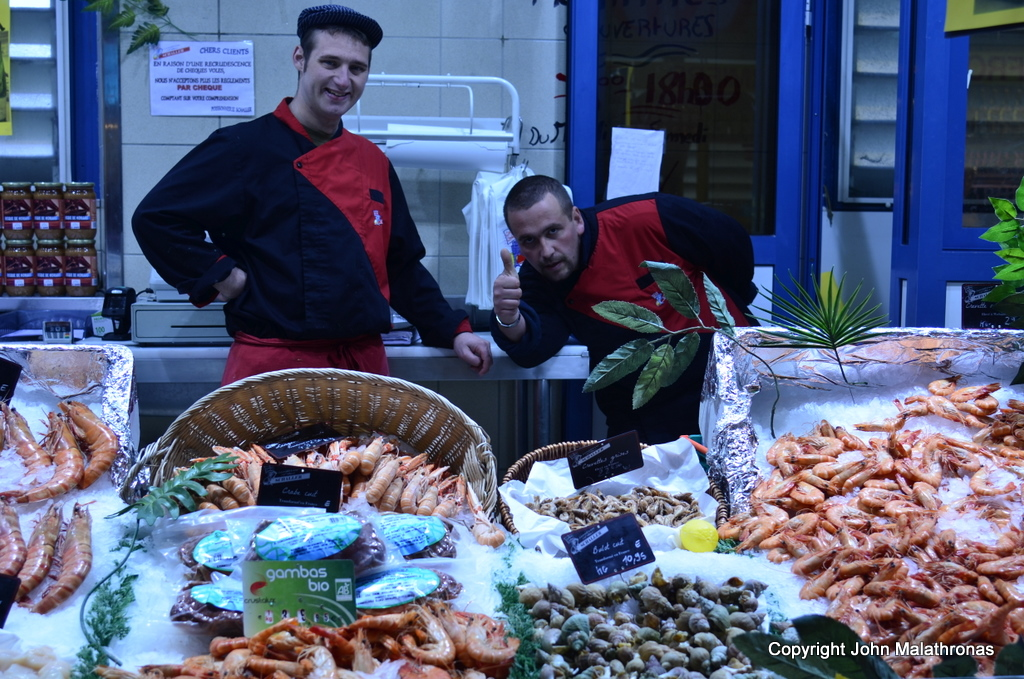 Fishmongers in Metz covered market