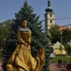Cachtice square with Bathory statue