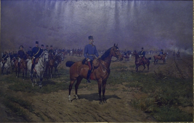 Emperor Franz Joseph I. during a military manoeuvre. Oil on canvas, by Tadeusz Ajdukiewicz, 1891.