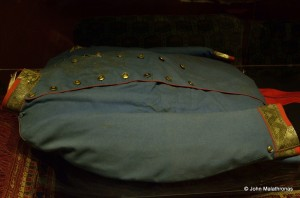 The bloodied uniform Franz Ferdinand wore in Sarajevoc complete with dried blood.