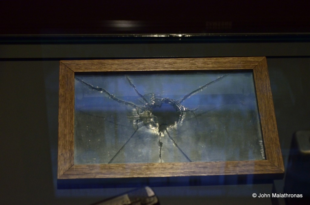 Sarajevo: Windscreen of a convoy car damaged in the first assassination attempt.
