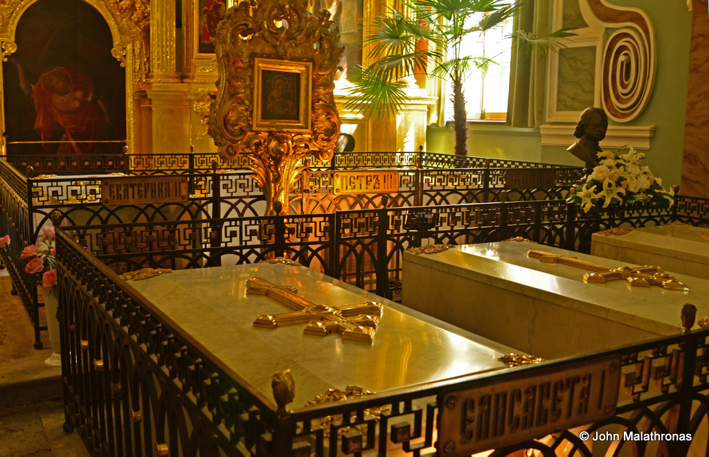 The tombs of Elizabeth I, and behind L->R Catherine II (The Great) and Peter III.