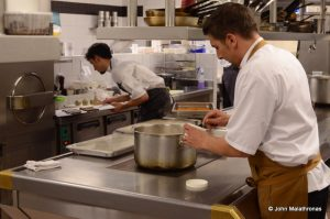 Chef Jean Michel Carrette in the kitchen of Aux Terrasses