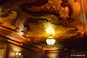 Detail of the wooden ceiling, library room, Nabokov museum