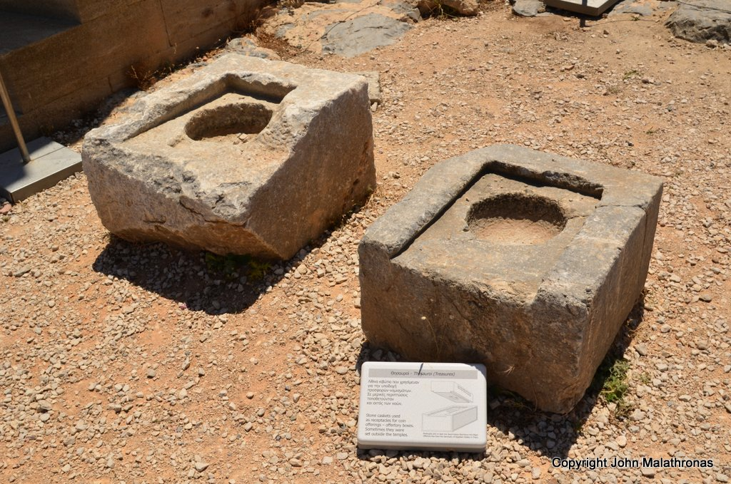 Ancient collection boxes on the Acropolis of Lindos