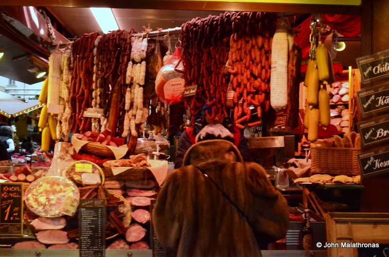 Sausage stand, Christmas market Am Hof, Vienna