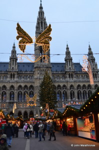 Entering the Rathaus Christmas market, Vienna