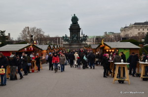 Entrance to the Christmas market Weihnachtsdorf Maria-Theresa square, Hofburg, Vienna
