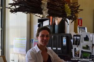 Celine Brocard offering tastings of the Brocard wines
