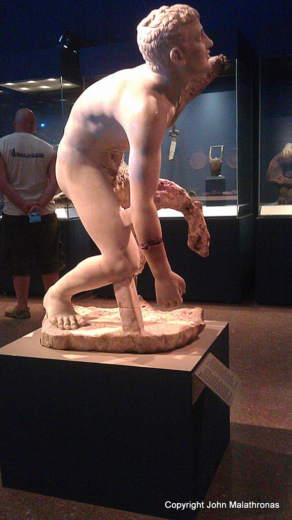 Boy assuming wrestling position, Antikythera wreck