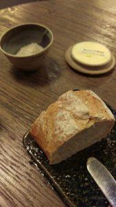 Beurre de Bresse DOC w Maldon salt and three types of bread.
