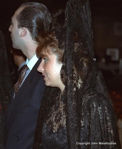 Typical Seville black lace dress for the Macarena procession, Semana Santa, Seville