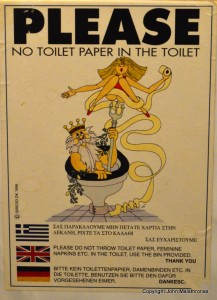 Toilet sign, Pyrgos, Tinos
