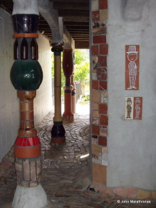 Hundertwasser toilet columns and male entrance