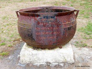 Cauldron used to boil whale blubber, kaikoura