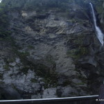 The Reichenbach falls with a mark on the spot where Holmes and Moriarty fell to their death (or not)